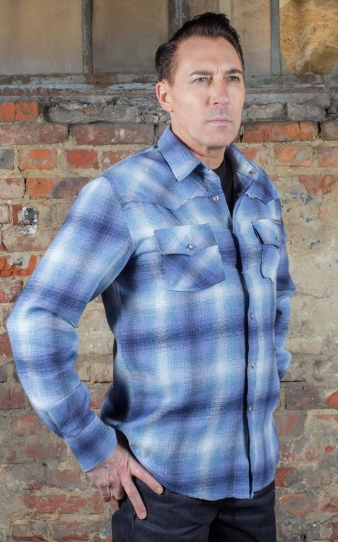 Rumble59 - Flannel Shadow Plaid Shirt, blue
