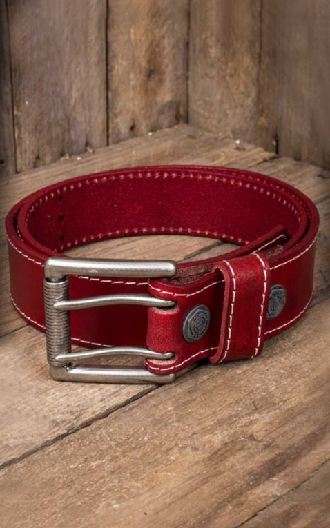 Rumble59 Leather belt with double prong buckle, red