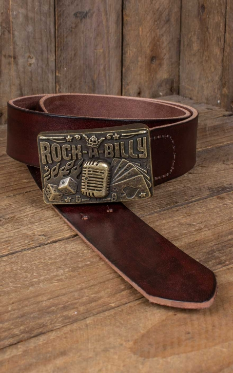 Rumble59 Leather belt with plaque buckle - Rockabilly