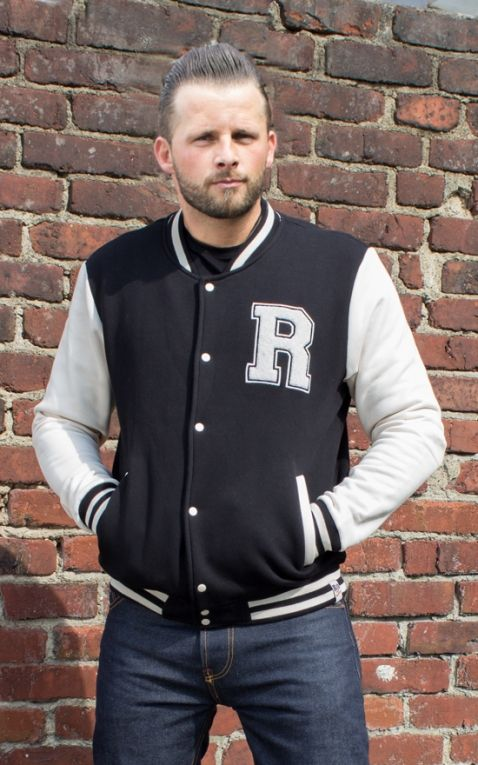 Rumble59 - Male Sweat College Jacke - schwarz/offwhite