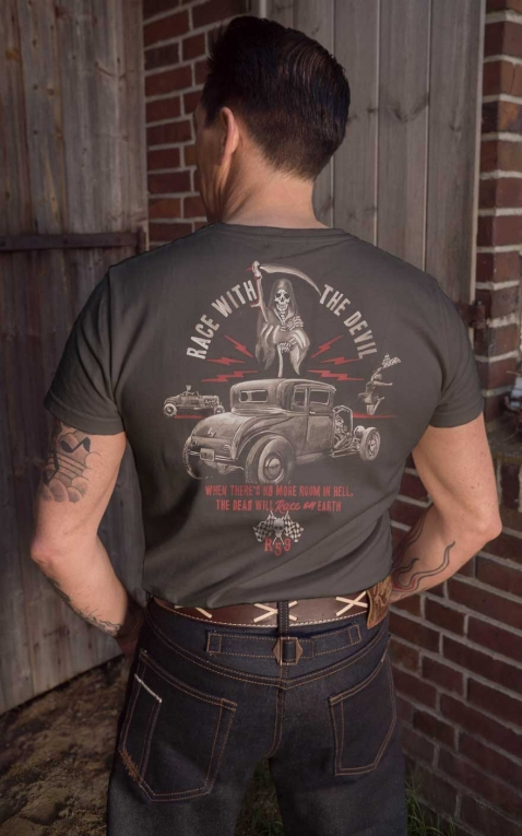 Rumble59 - T-Shirt - Race with the devil - Vintage-Wash, taupe