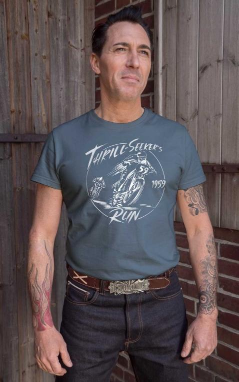 Rumble59 - T-Shirt - Thrill-Seekers Run - Vintage-Wash, bleu