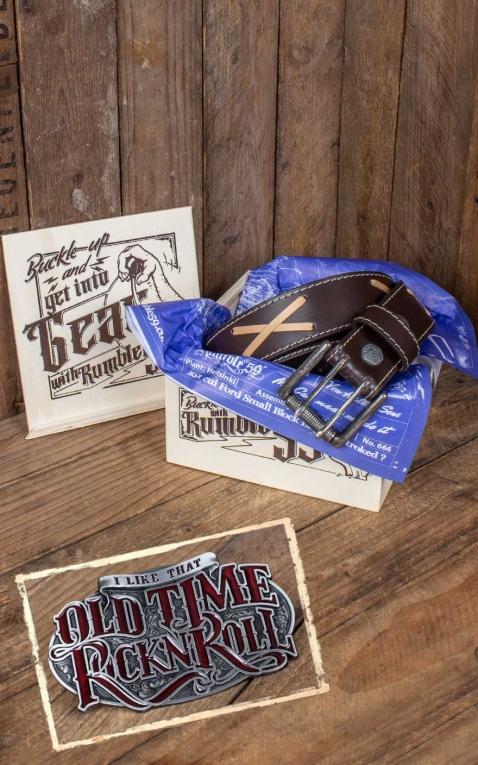 Rumble59 Set Leather belt Brando brown + Buckle Old Time RocknRoll