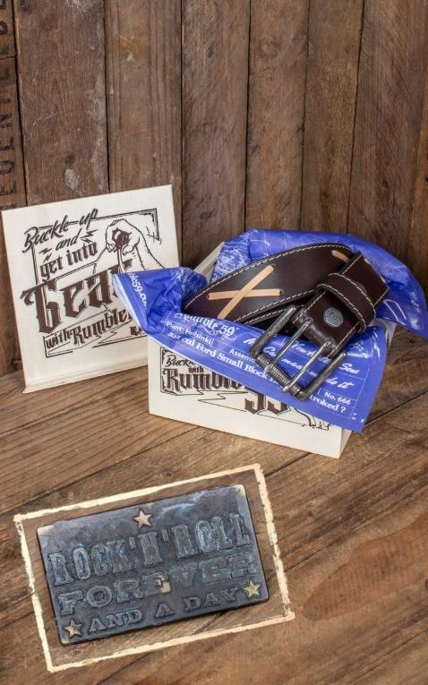 Rumble59 Set Ledergürtel Brando braun + Buckle RocknRoll Forever - Vintage Patina