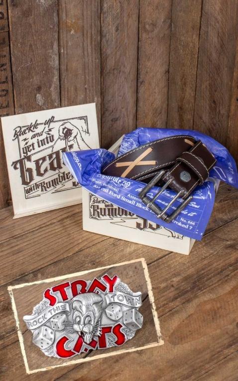 Rumble59 Set ceinture de cuir marlon brando, marron +boucle Stray Cats - Rock this town
