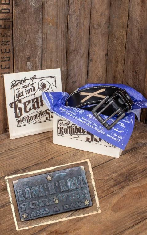 Rumble59 Set ceinture de cuir marlon brando, noir + boucle RocknRoll Forever - Vintage Patina