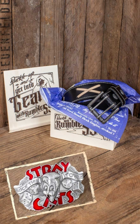 Rumble59 Set ceinture de cuir Marlon Brando noir+ boucle Stray Cats - Rock this town