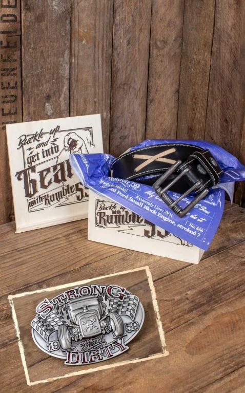 Rumble59 Set ceinture de cuir marlon brando, noir + boucle Strong and Dirty
