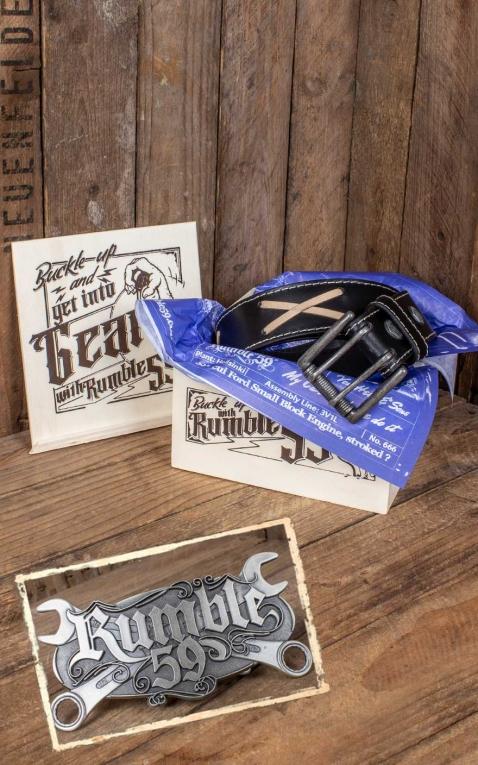 Rumble59 Set ceinture de cuir Marlon Brando noir+ boucle Wild Wrench