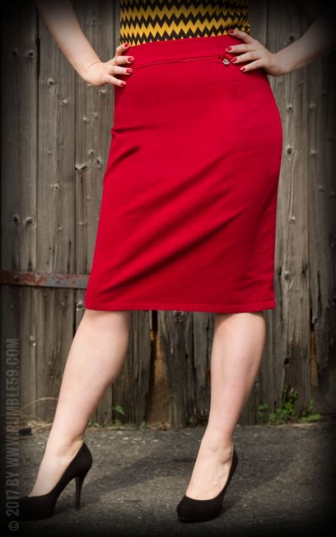 Rumble59 Ladies - Perfect Pencil Skirt - red