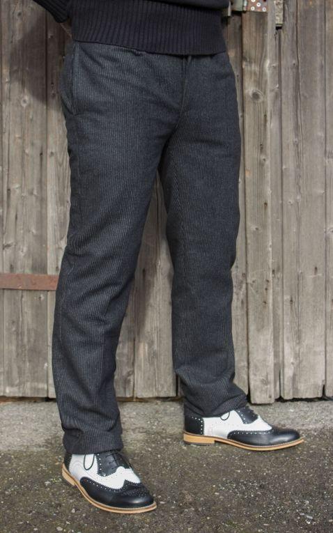 Rumble59 - Vintage Slim Fit Pants Pasadena  - gestreift schwarz/grau