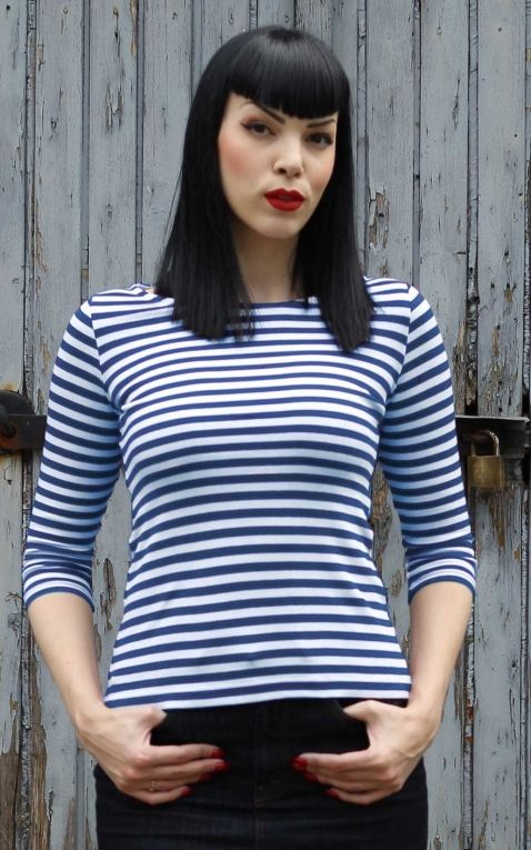 Rumble59 Ladies - Striped Shirt - Lets be Audrey! - blue