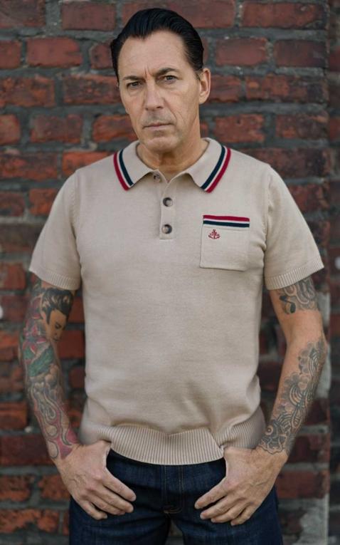 Rumble59 - Knitted Polo Shirt - Redmond - beige