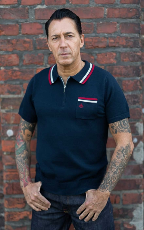 Rumble59 - Knitted Polo Shirt - Rockford - blue