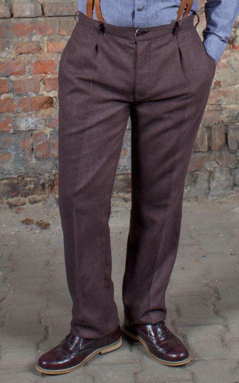 Rumble59 - Vintage Slim Fit Pants Pasadena - Herringbone brown/blue