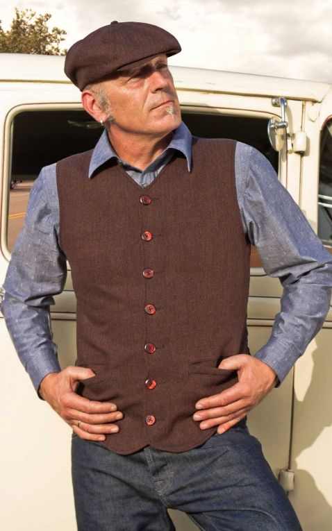 Rumble59 - Vintage Vest Atlantic City - Herringbone brown/blue