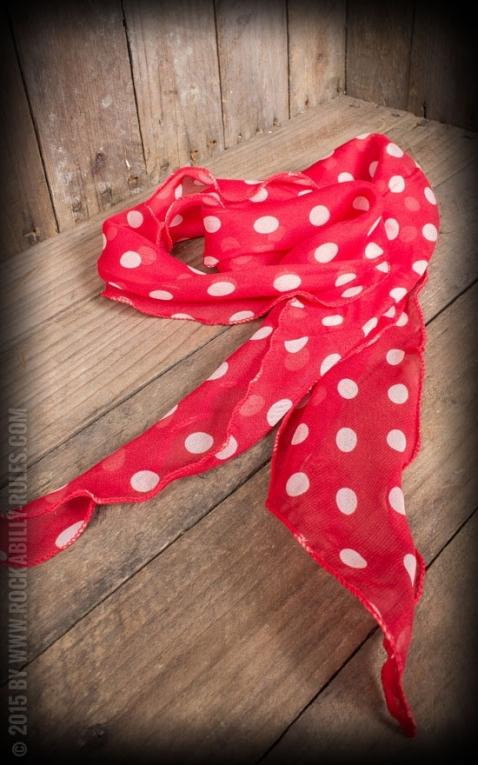 foulard / cache-cou / bandeau de cheveux polkadot, rouge et blanc