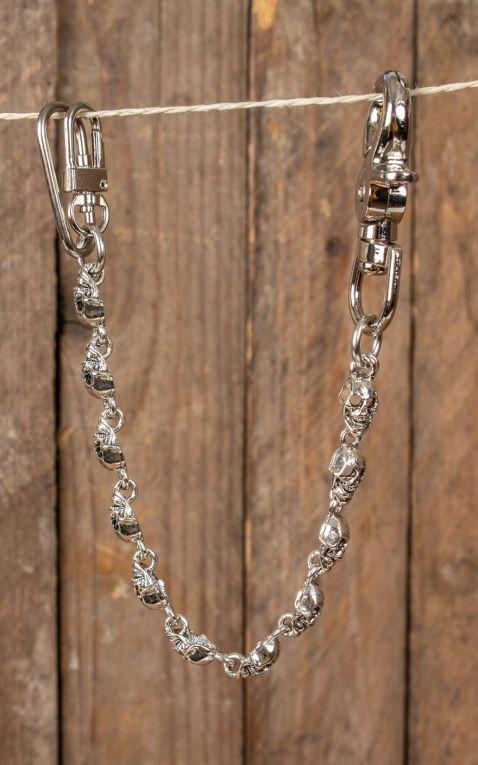 Schlüsselanhänger Rockabilly Flat Skull, versilbert