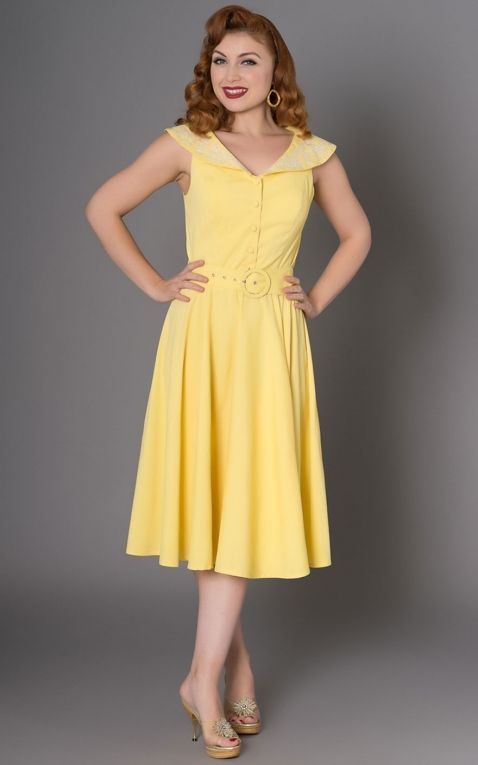 Sheen Clothing Diner Dress Freda with flowers, yellow