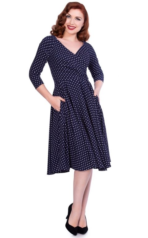 Sheen Clothing Swing Dress Polkadot Katherine, navy
