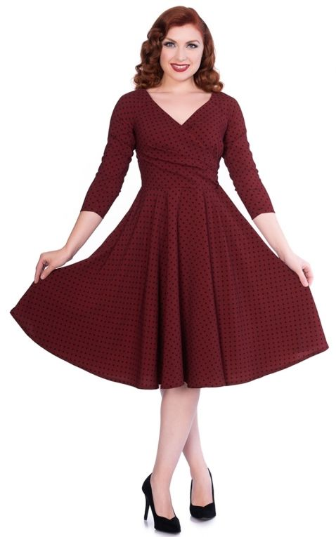 Sheen Clothing Robe Swing Polkadot Katherine, bourgogne