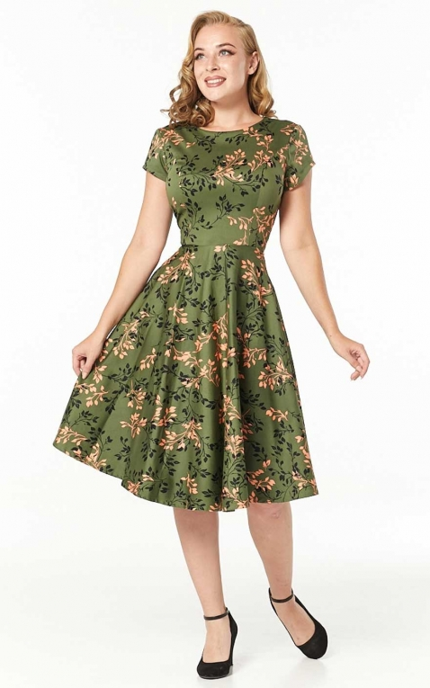 Sheen Clothing Swing Kleid Leila mit Blättern