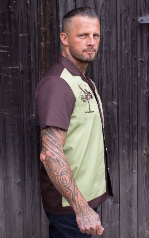 Rumble59 - Lounge Shirt - Mans Ruin - brun/vert pâle