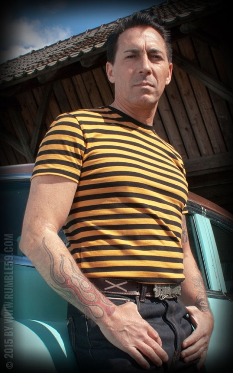 Rumble59 - Striped Shirt - mustard/ black