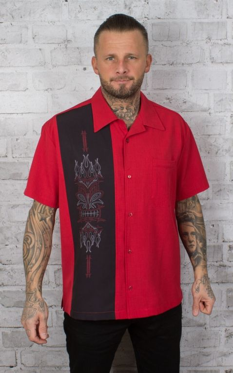 Steady Chemise - Pinstripe Tiki Panel, rouge