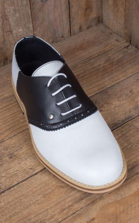 Steelground Chaussures Saddle, noir et blanche