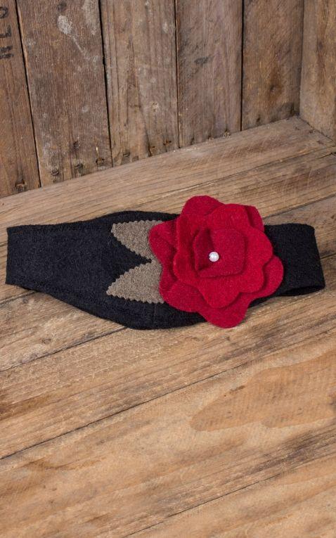 Mirandas Choice Serre-tête noir, fleur rouge