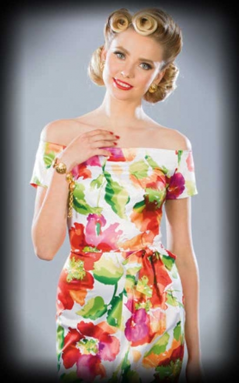 Stop Staring - Pencil Dress with bow and flowers