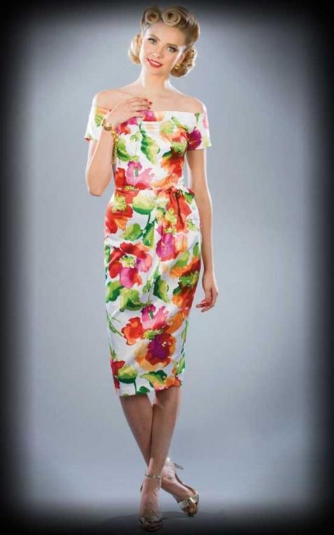 Stop Staring - Robe Crayon avec noeud et fleurs