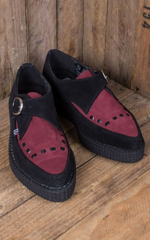TUK - Black & Burgundy Creeper Pointed Monk Buckle EZC
