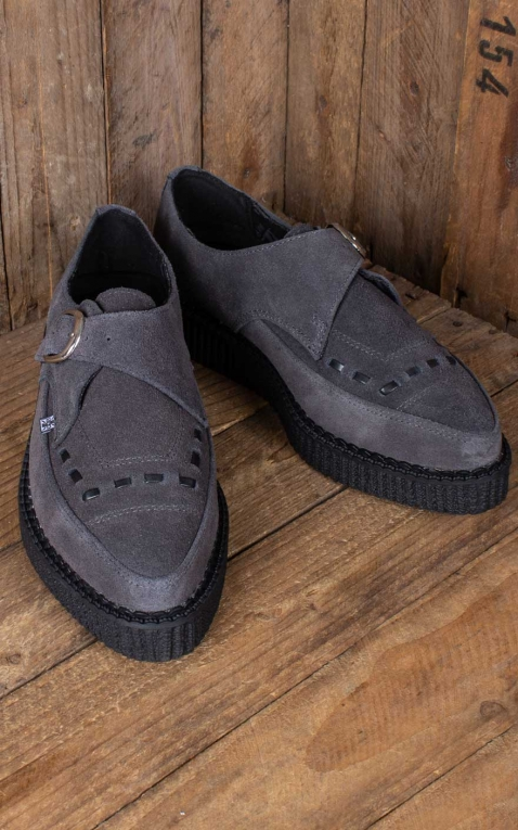 TUK - Charcoal Suede Monk Buckle Pointed Creeper