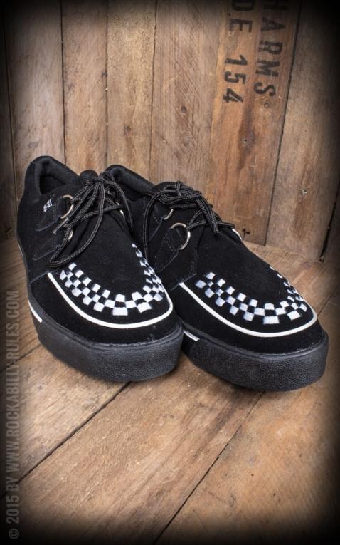 TUK Creeper Sneaker Black Suede White Trim