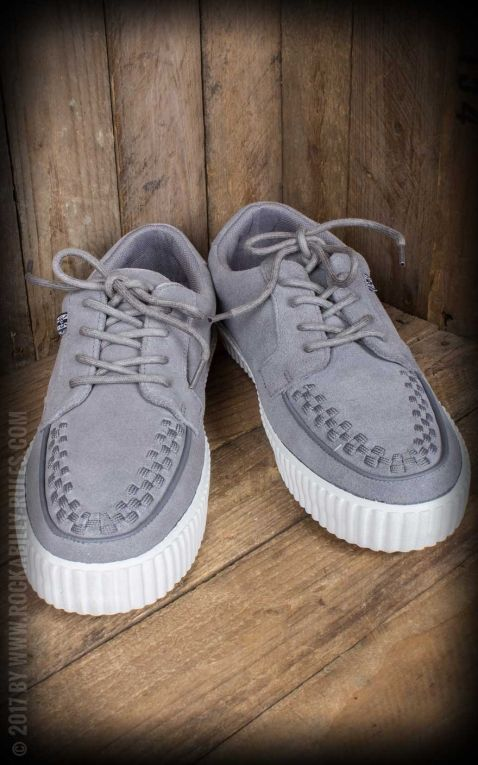 TUK Grey Suede Interlace EZC Creeper Sneaker with White Sole