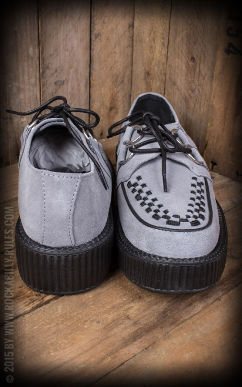 TUK Grey Suede Round Toe Low Sole Creeper