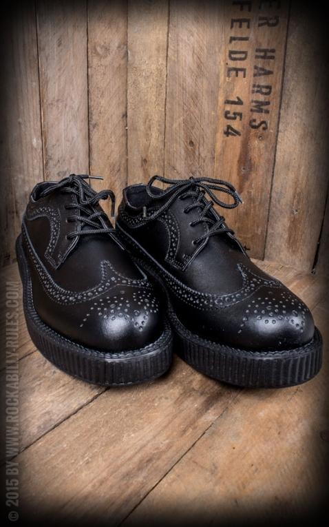 TUK Viva Low Creeper - Black Leather Wingtip Brogue