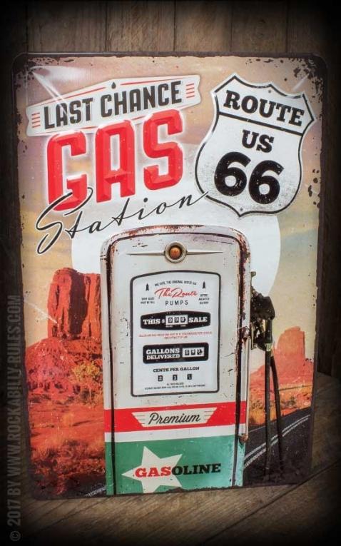Plaque en Métal Vintage - Route 66 Gas Station, 20 x 30 cm