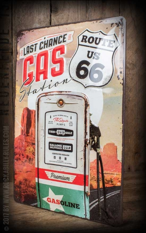 Vintage Blechschild - Route 66 Gas Station, 20 x 30 cm