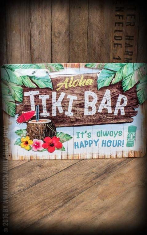 Vintage Tin-Plate Sign - Tiki Bar, 20 x 30 cm