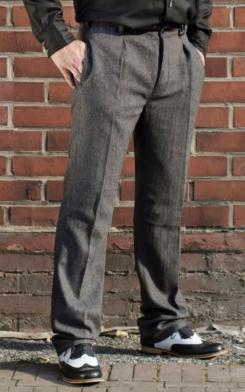 Rumble59 - Vintage Slim Fit Pants Pasadena - Herringbone grey/black