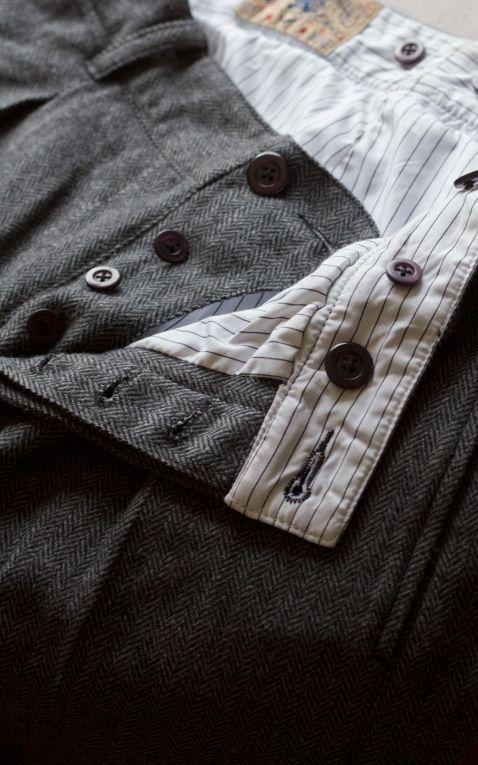 Rumble59 - Vintage Slim Fit Pants Pasadena - Fischgrat grau/schwarz