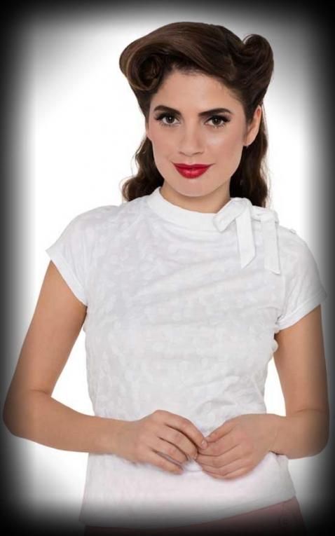 Voodoo Vixen Girlshirt Top with bow - Ashlea, white