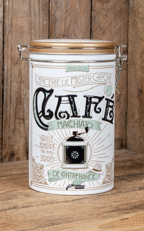 Round coffee storage tin Mister Capone