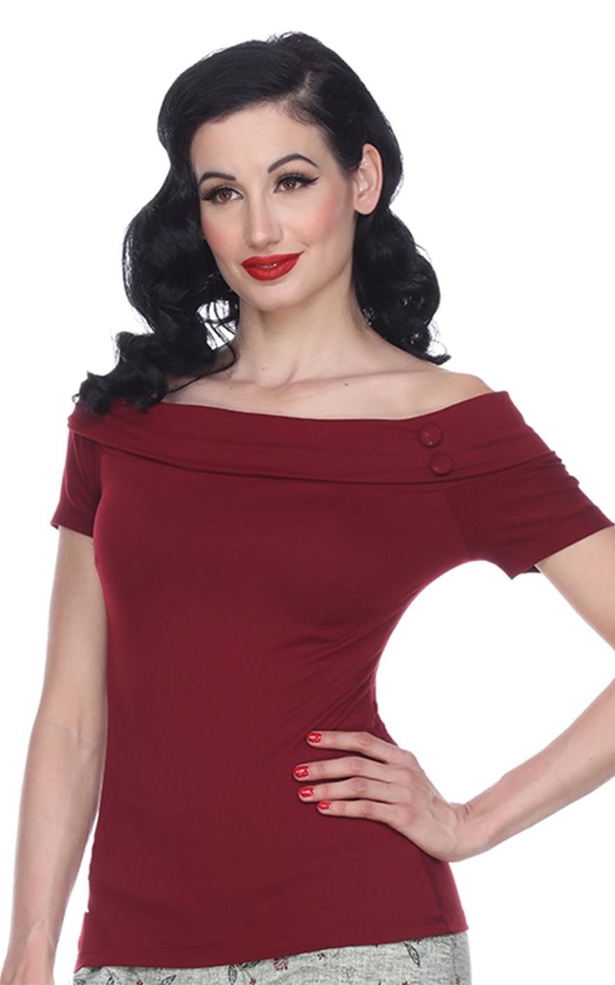 Bettie Page Hd bettie page clothing - debby top, merlot