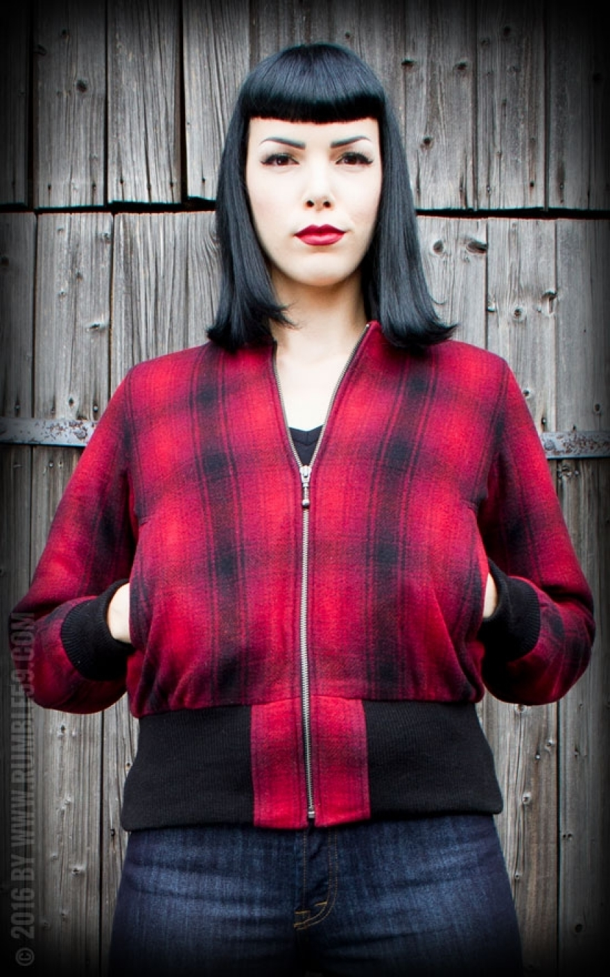 Red Rosie Rockabilly Jacket Rules Checked vRaqq