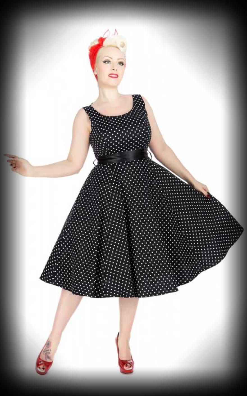 kleid mit bolero polkadot schwarz wei retro dress. Black Bedroom Furniture Sets. Home Design Ideas