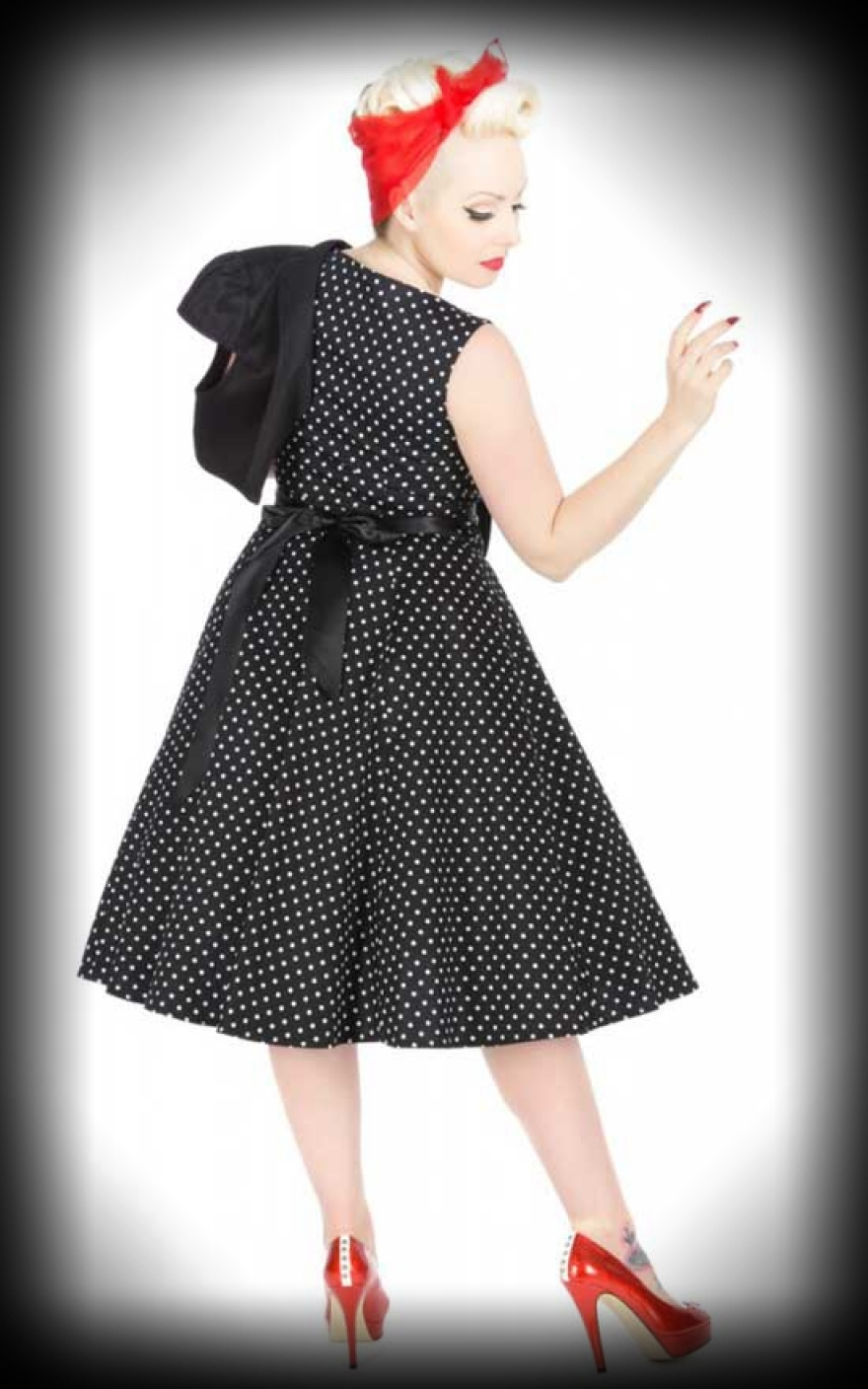 kleid mit bolero polkadot schwarz wei retro dress. Black Bedroom Furniture Sets. Home Design Ideas